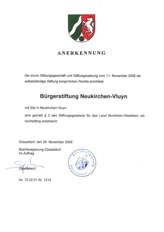 Annerkennungsurkunde der Bürgerstiftung Neukirchen-Vluyn